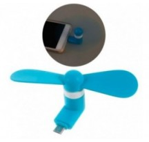 Mini ventilador para movil OTG micro usb azul