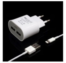 Cargador de red lightning 2 puertos USB 5 v. 1 a. para iPhone 5 / iPad mini / iPad touch 5 color blanco