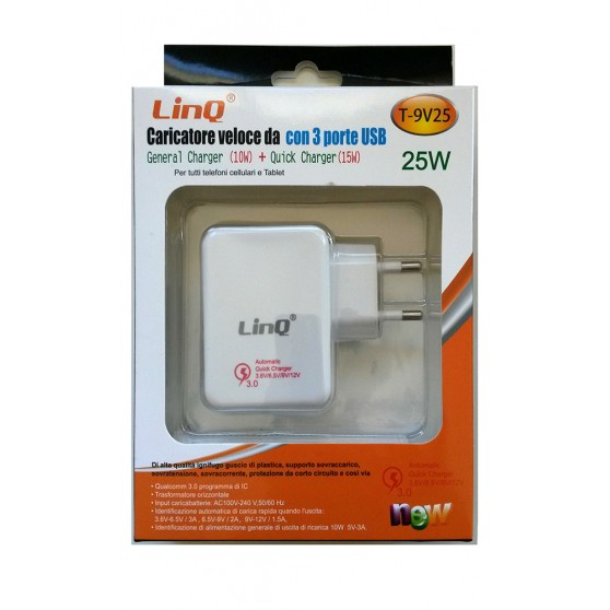 Cargador Rapido de Pared Enchufe 3 Puertos USB Adaptador de Movil y Tablet 25W