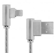 CABLE DATOS CARGA RAPIDA USB A LIGHTNING NYLON TRENZADO 90º ANGULO RECTO IPHONE