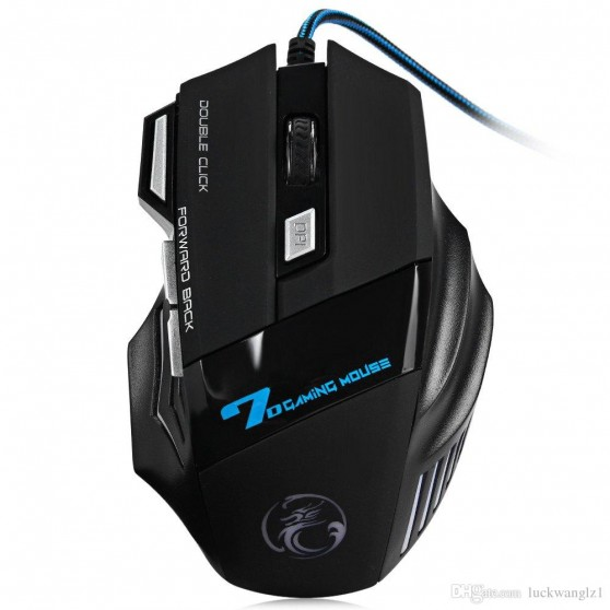 WP E-STONE X7 DISEÑO LUZ LED WIRED GAMING RATÓN USB COLOR NEGRO MOUSE GAMER 7D 800-2400 DPI