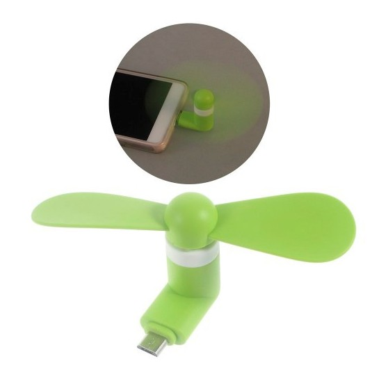 Mini ventilador para movil OTG micro usb verde