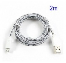 Cable cargador USB con conector micro USB nylon 2M blanco
