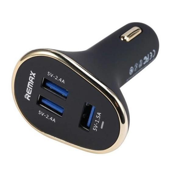 Cargador de coche con 3 puertos usb para telefono movil / tablets /portatiles /camaras digitales 2.4 A negro