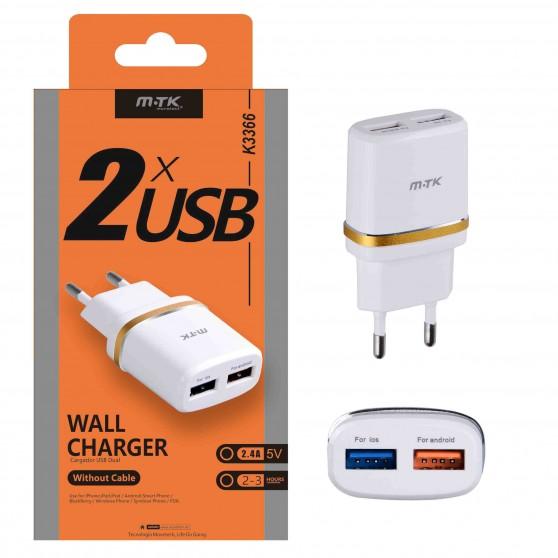 CARGADOR RED USB DUAL 2.1 A PARA IOS MOVILES ANDROID IPHONE IPAD 2 USB MTK