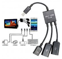 Cable Adaptador Host OTG Micro USB Macho a 2 USB Hembra HUB Smartphone Movil