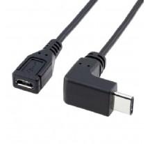 CABLE ADAPTADOR 90 GRADOS TIPO C MACHO A USB 3.0 HEMBRA