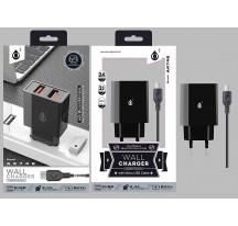 CARGADOR RED CASA CON DOBLE USB X 2.4A POR USB Y CABLE DE CARGA MICRO USB 1,2 M